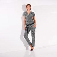 Blancheporte – Blouse effet cache-coeur et pantalon imprimé – A partir de 40,98€