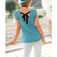Blancheporte – Tee-shirt avec liens imprimé turquoise – A partir de 14,99€