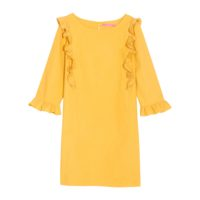 ROBE JAUNE À FRONCES ET COLANTS EXCLUSIVITÉ 3SUISSES – 34,99€