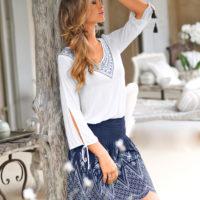Blancheporte – Tee-shirt imprimé et jupe imprimée évasée – A partir de 44,98€
