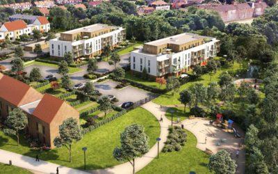 A Marquette-lez-Lille, Ramery immobilier pose la première des Rives des Sens, reconversion d'une friche industrielle.