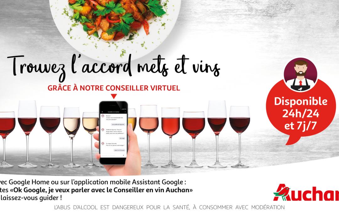 Avec Google Home, Auchan Retail lance le premier chatbot vocal qui accorde mets & vins