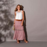 Blancheporte – Tee-shirt encolure macramé et long jupon – A partir de 62,98€