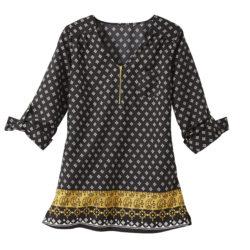 Blancheporte_La blouse imprimée noirs-safran_A partir de 19.99 euros