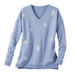Blancheporte_La maille fantaisie toucher cachemire imprimé étoile bleu lavande_A partir de 27.99 euros (2)