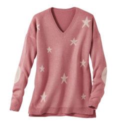 Blancheporte_La maille fantaisie toucher cachemire imprimé étoiles rose poudré_A partir de 27.99 euros