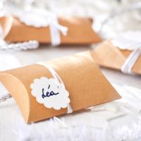 Blancheporte – Lot de 6 boites berlingots en carton kraft avec étiquettes et rubans– 8,99 euros