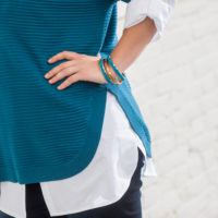 BLANCHEPORTE-PULL MAILLE RELIEFEE BLEU-19,99 EUROS-VUE 1