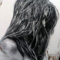 Galerie Nicole Gogat – Cécile Desserle – S'affranchir de sa condition – Technique Fusain, Aérosol, Huile, Eau de Mer, Encre de Chine et Brou de Noix – 162 x 130_preview