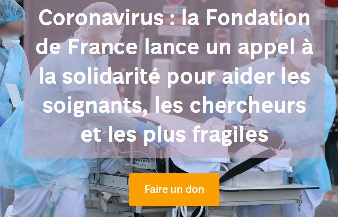 Coronavirus : la Fondation de France se mobilise et lance un appel à la solidarité pour aider les soignants et les plus fragiles